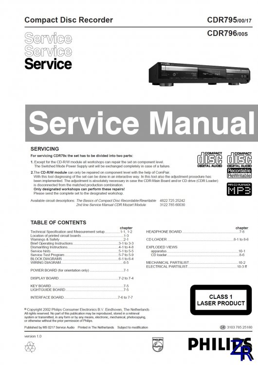 Service Manual - Philips - CDR795 [PDF]