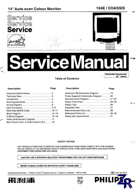 Service Manual - Philips - 14E4220 [PDF]